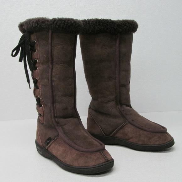 quality cost charm best value Koolaburra Men's Tall Winter Boots Brown Sheepskin